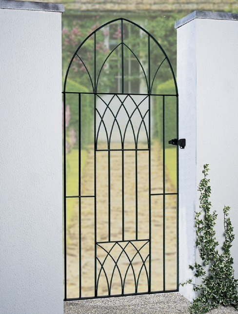 Abbey bow top metal side gate gothic arch garden gate sale