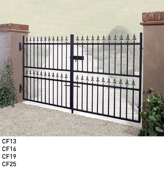Corfe wrought iron style metal driveway gates garden for Ready made driveway gates