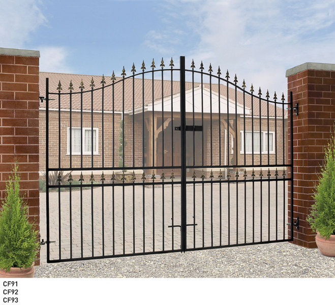 Buy tall metal wrought iron driveway gates online sale for Aluminum driveway gates prices