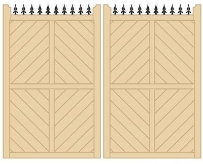 Parquetry Tall Wooden Estate Gates