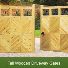 A Range of Tall Wooden Driveway Gates